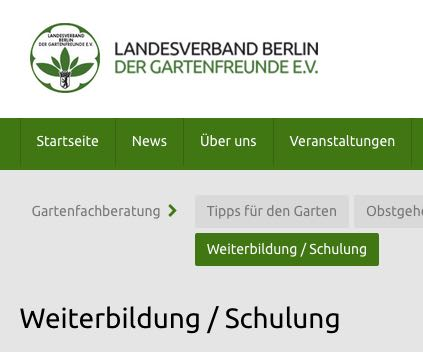 Website des Landesverbands der Gartenfreunde Berlin